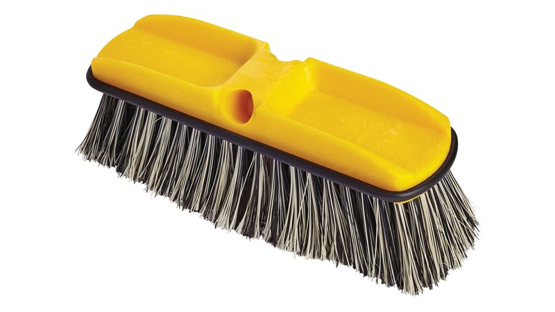 Polystyrene bristles are resistant to water, wear, and shearing. Bristles are split-tipped to make them softer and better able to trap fine dirt particles on smooth surfaces than regular bristles.