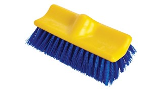 The Rubbermaid Commercial Floor Scrub Brush features bi-level polypropylene bristles that are stain-resistant.