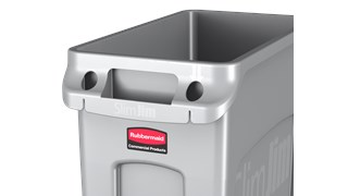 The Rubbermaid Commercial Slim Jim® containers with venting channels offer uncompromised performance in constrained spaces.