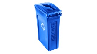 Slim Jim® Recycling Lids facilitate waste and recycling sortation with interchangeable, color-coded tops.