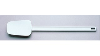 "Multi-purpose 9.5"" spoon-shaped spatula designed for unheated applications of scraping, scooping, and spreading in food preparation."
