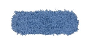 """Twisted-Loop Blend Dust Mop 24"""" FGJ25300 is a premium prelaundered dust mop that provides maximum durability and optimal cleaning performance. Twisted loops create fuller mop heads with no gaps, offering better coverage than traditional ply yarn and improved collection and retention of dust and dirt particles. Less prone to snagging, fraying, and unraveling. Slip-on backing for easy setup. Durable polyester backing designed for launderable printing. Recycled content: Yellow Mops are up to 62% PIC and 10% PET; Blue Mops are up to 65% PIC and 35% PET. Handles sold separately."""