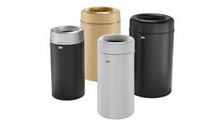 The Crowne Collection 30 Gallon FGAOT30 Decorative Indoor Waste Container has an attractive contemporary design with a curved open top that prevents objects from being placed on top of the can, keeping a neater overall appearance.