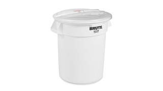 The Rubbermaid Commercial BRUTE® ingredient containers with sliding ProSave® lid and scoop