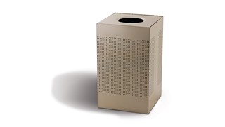 The sleek Silhouettes 20 Gallon FGSC18 Decorative Square Indoor Waste Container has a contemporary perforated pattern designed to seamlessly and beautifully blend with modern facilities and environments. High-quality materials and craftsmanship ensure containers can withstand the rigors of everyday use.