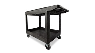 The Rubbermaid Commercial Utility Cart, with 2 Lipped Shelves, Medium, is a versatile, durable cart that can transport up to 500 lbs.