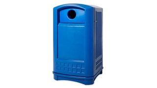 The Rubbermaid Commercial Plaza Bottle/Can Recycle Bin is perfect for outdoor recycling. This recycling bin contains Post-Consumer Recycled Resin (PCR) exceeding EPA guidelines.