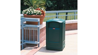 The Rubbermaid Commercial Plaza® Trash Can offers contemporary styling with a side-opening door for ergonomic waste emptying.