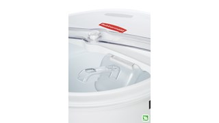 The Rubbermaid Commercial ProSave® sliding Lid and scoop for 20 gallon BRUTE® ingredient container