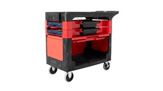 The Rubbermaid Commercial Rolling Tool Chest moves productivity right to the work site with a total tool storage and mobile workbench system.